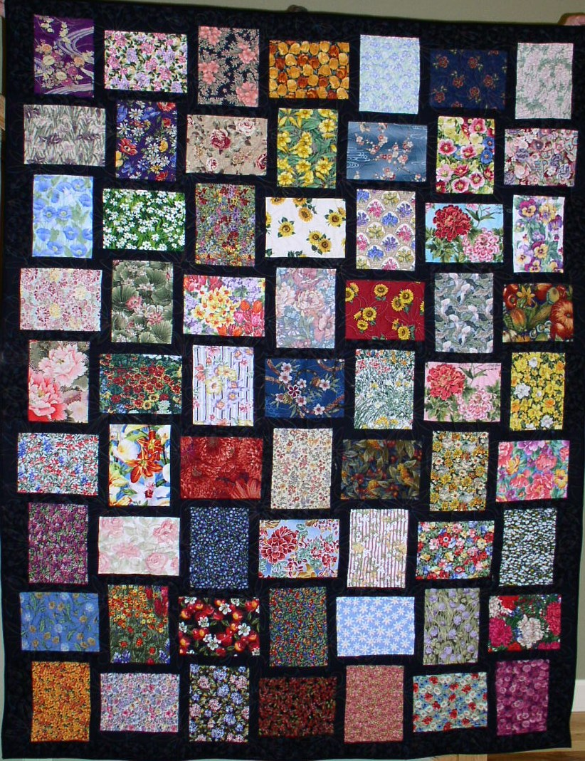 Black and floral quilt