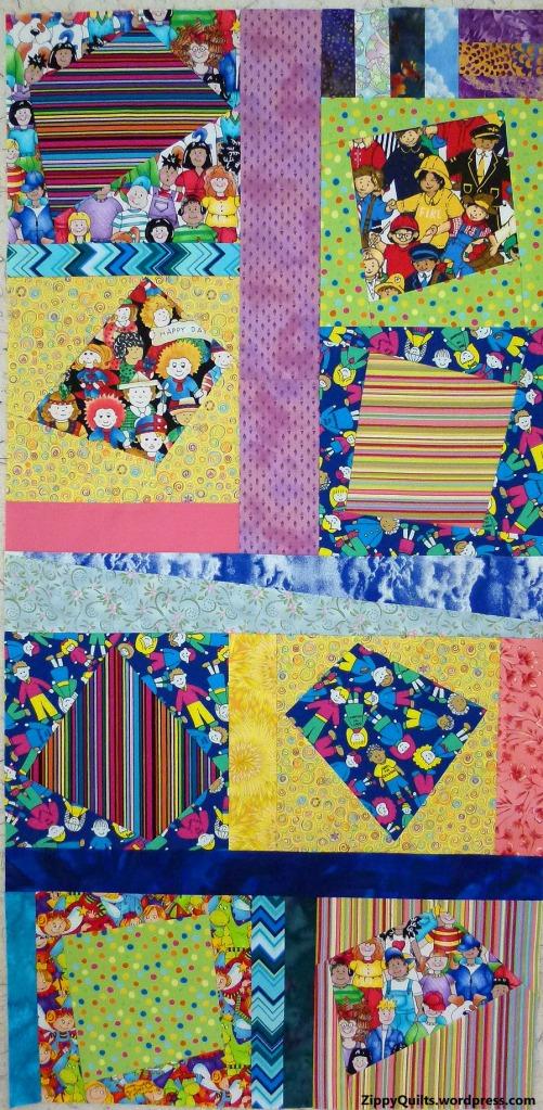 A section of the quilt, showing various sashing--don't line anything up!