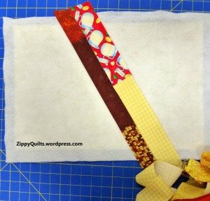 add another strip, then fold them right sides together and sew the seam through all layers