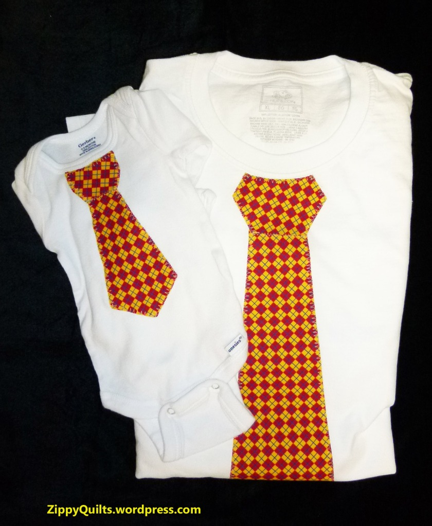 onesie and t shirt with iron-on ties