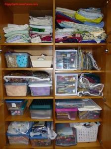 Fabrics in storage cabinet