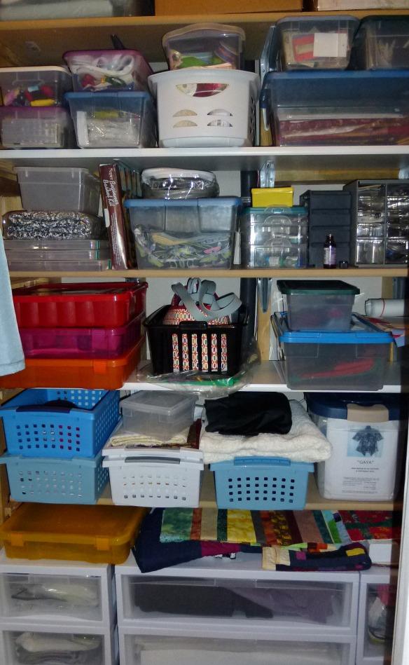 Closet fabric storage