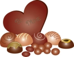 Clip Art Illustration of a Chocolate Valentine Heart with Truffl