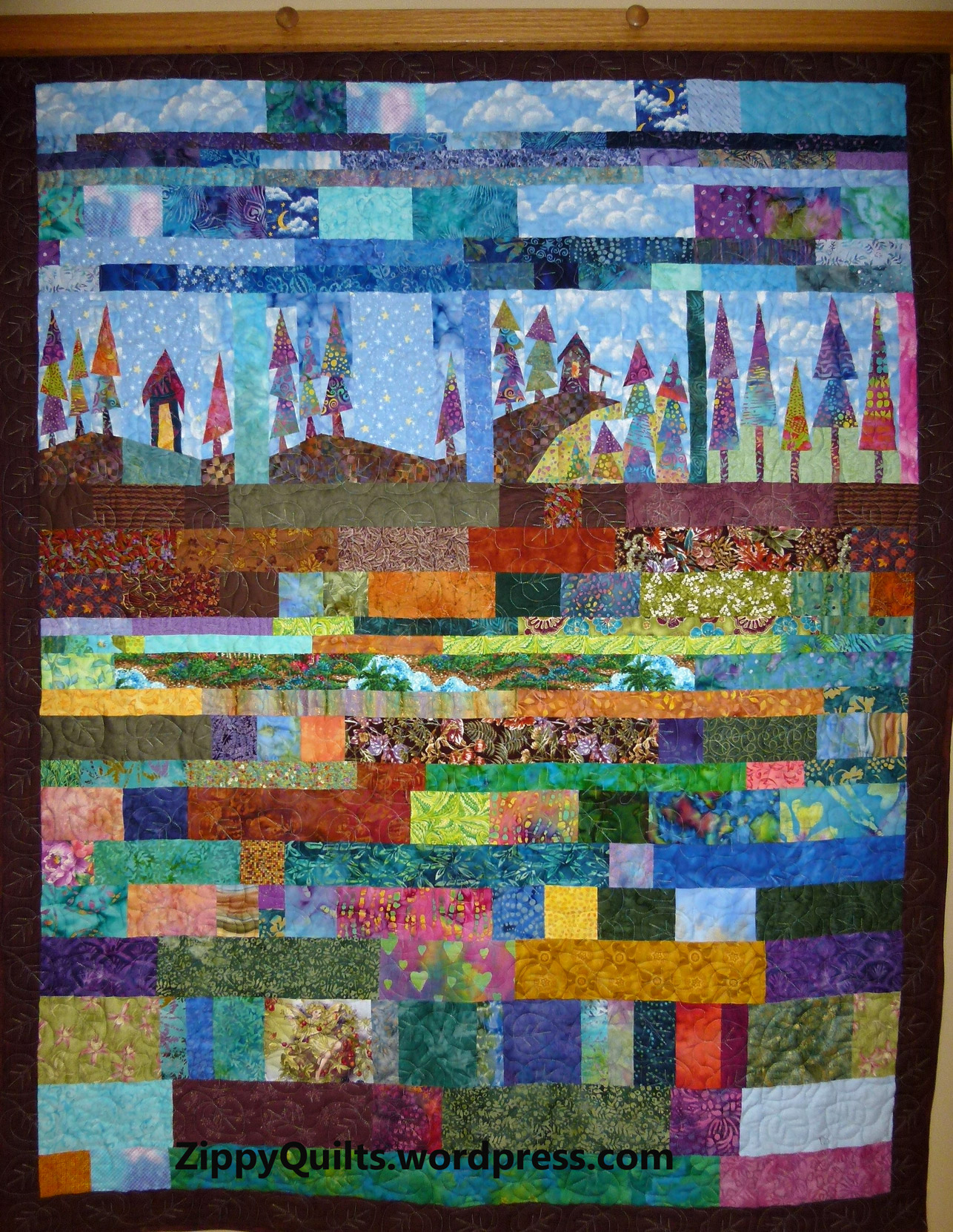 improvisationally pieced quilt