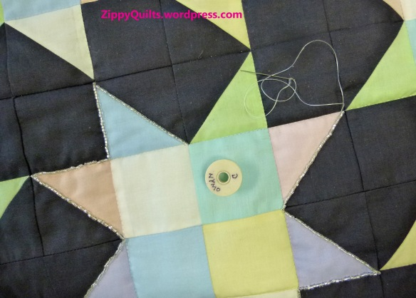 beads on quilt
