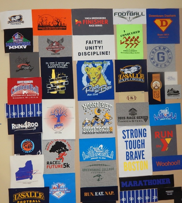 Tech shirts in a T shirt quilt