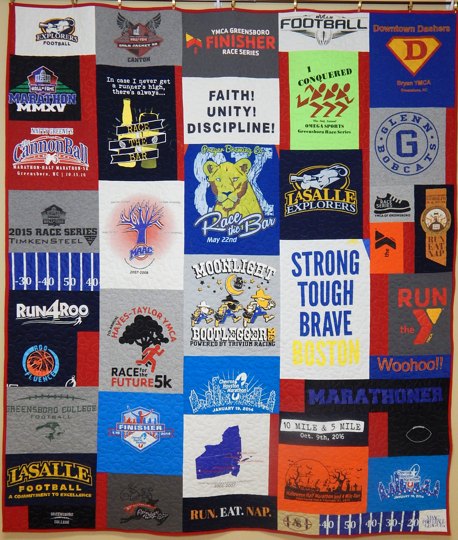 T-shirt quilt design instructions - One Of Our Daughter S Former Room Mates Is Getting Married And Asked If I Would Make A T Shirt Quilt From Shirts Both She And Her Fiance Have Gathered In