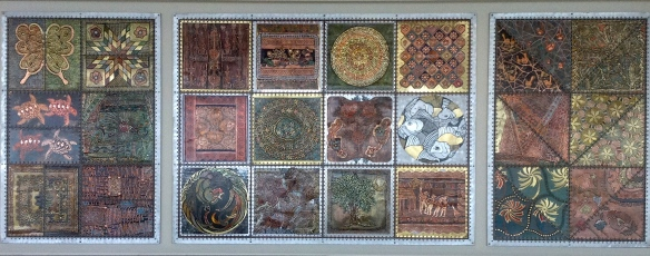 "metal ""art quilt"" sculpture by Evelyn Rosenberg"
