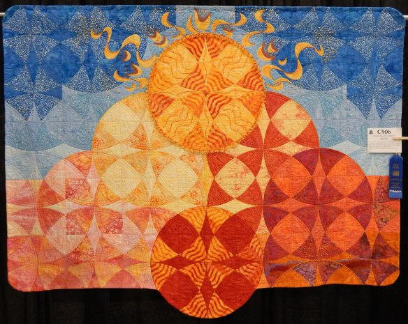 orange and blue quilt