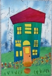 This wonky house was inspired by a class I took with Laura Wasilowski several years ago